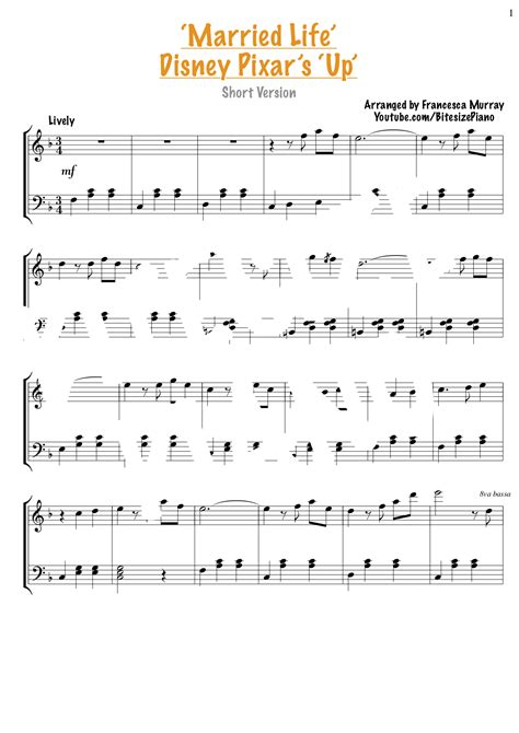 Download and print married life (from up) sheet music for piano solo by michael giacchino from sheet music direct. Married Life - Up Sheet Music SHORT VERSION - Bitesize Piano