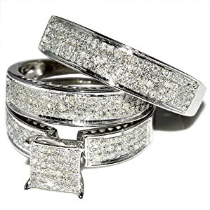 amazoncom    trio wedding rings set ct