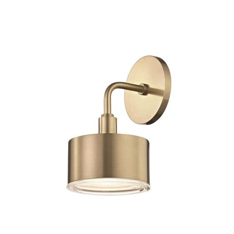 mitzi by hudson valley lighting nora 1 light aged brass led wall sconce h159101 agb the home depot