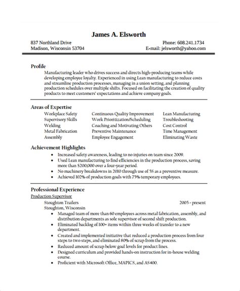 Sle Resume Assembly Line Worker by 28 Production Resume Template Production Sle Resume 34 Documents In Pdf Word Production