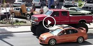 Check Out This Incredibly Tall Lifted Ford Truck Driving