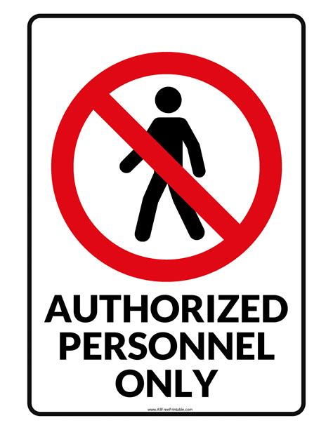 authorised personnel  signs poster template
