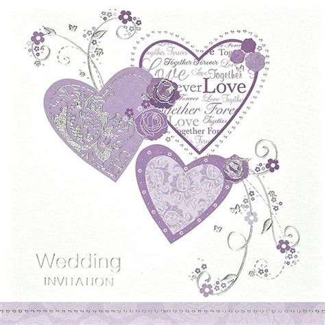 wedding invitations with hearts purple hearts wedding invitation cards 6 pack confetti