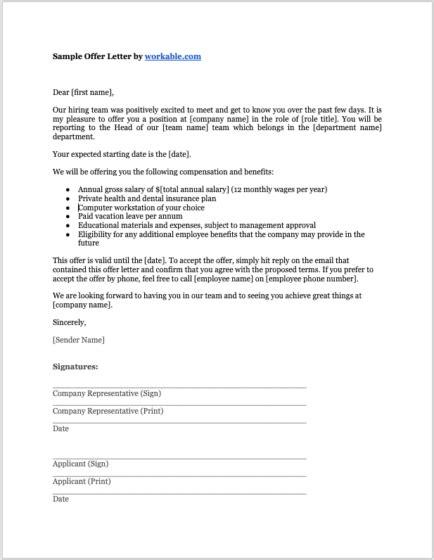 job offer letter templates   circumstance