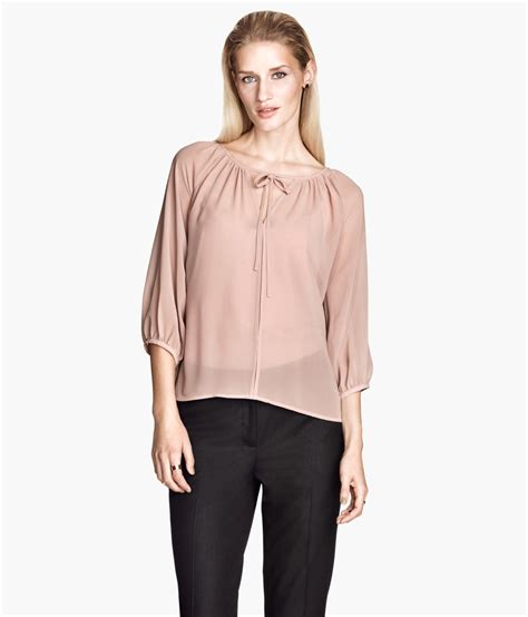 h m blouses h m chiffon blouse in pink lyst