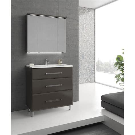 meuble de salle de bains de 80 224 99 gris argent opale leroy merlin