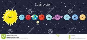 Solar System With Cute Smiling Planets, Sun And Moon ...