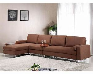 Brown fabric sectional sofa w ottoman in contemporary for Fabric sectional sofas with ottoman