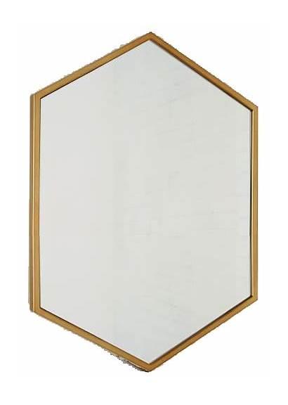 Mirror Hexagon Metal Framed Brass Antique Decorist
