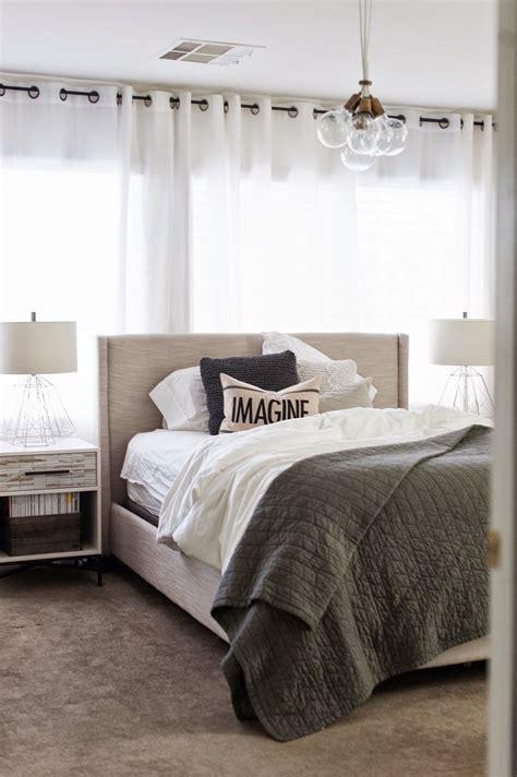 wood tiled nightstand  west elm bedroom interior