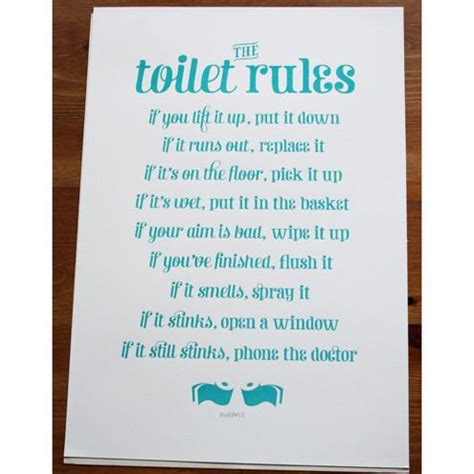 boxing day sale  toilet rules handmade silk screen