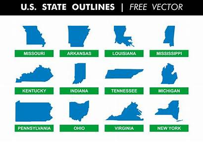State Outlines Vector Outline Map Indiana Ohio