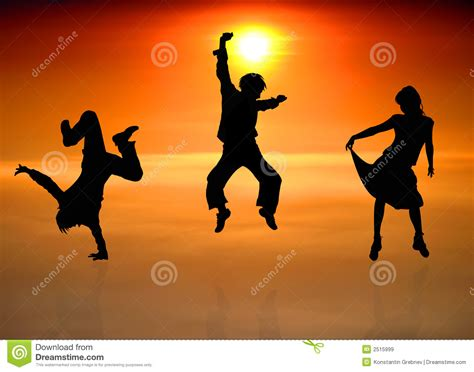 silhouettes  dancing people royalty  stock images