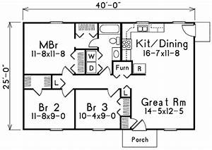 Ranch Style House Plan - 3 Beds 1 Baths 1000 Sq/Ft Plan ...