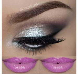 Love this silver smokey eye with bright pink lips   b e a ...