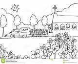 Funeral Begrafenis Funerale Dienst Gebeurtenis Schwarzweiss Ereignis Händelse Begravnings Svart För Chiesa Fullsatta Pew Lijkwagen Mortuarium sketch template