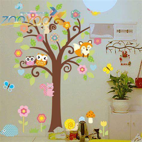 Owl Bird Tree Squirrel Wall Art Sticker Decal Kids Nursery