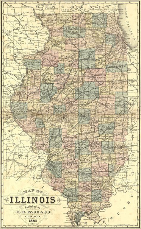 illinois state   page  historic map reprint