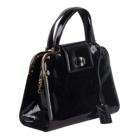 yves saint laurent black patent leather uptown bag handbag satchel  sale  stdibs