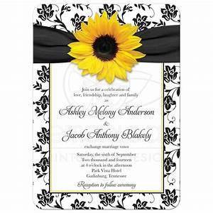 wedding invitation sunflower damask black white yellow With black and white sunflower wedding invitations