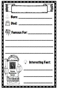 Historical Biography Template by These Are Seven Biography Recording Sheets About