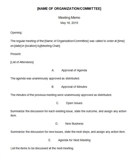 Staff Meeting Memo Template by Meeting Memo Template 18 Free Word Pdf Documents