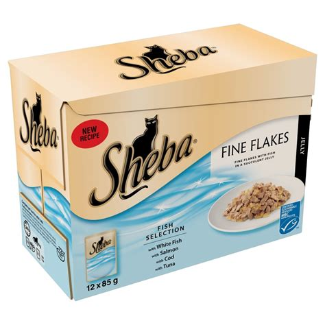 Buy Sheba Fine Flakes Fish Selection Pouch Cat Food  12 X