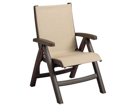 Grosfillex Resin Lounge Chairs grosfillex belize midback resin folding sling bronze mist