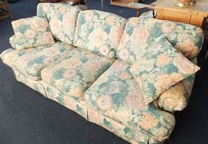 Lot detail floral sofa with queen size sleeper and a secret for Floral sofa bed