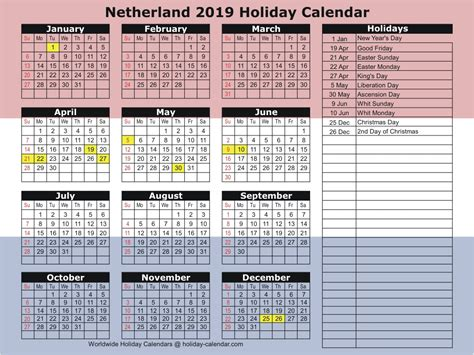 netherlands holiday calendar