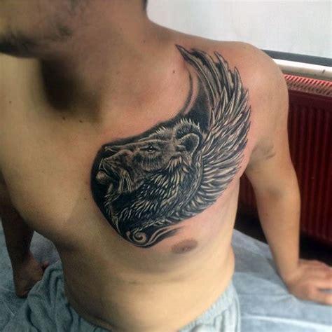 lion chest tattoo designs  men fierce animal ink ideas