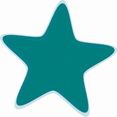 Star Teal Clip Clker Clipart Royalty Vector