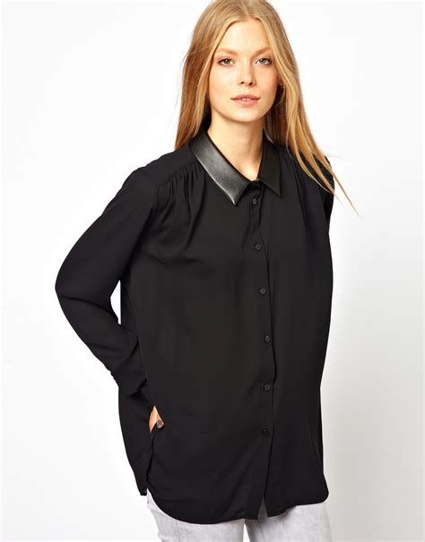 looking blouse asos sheer blouse with leather look collar in black lyst