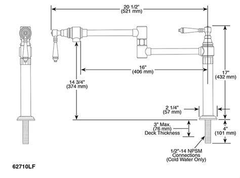 Deck Mount Pot Filler Faucet : 62710LF PN : Traditional
