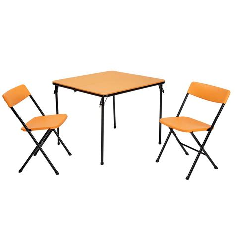 cosco folding table and chairs cosco 3 piece orange folding table and chair set