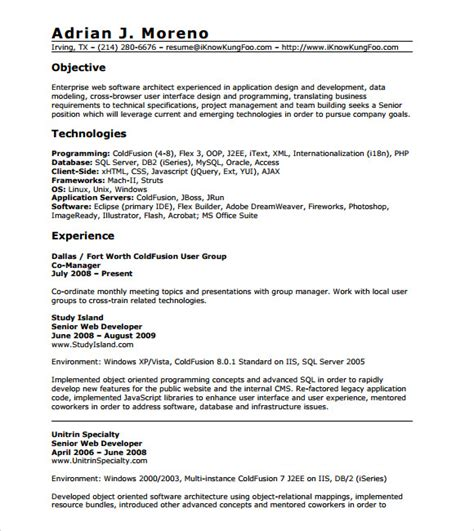 years experience resumes sample resume experienced php developer resume ixiplay