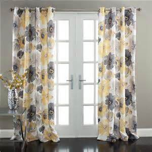 set of 2 gray yellow white modern floral room darkening window curtains 84 quot ebay