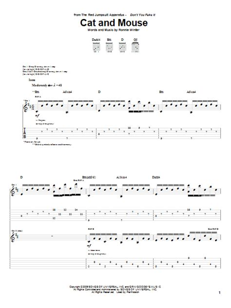 cat and mouse jumpsuit apparatus cat and mouse by the jumpsuit apparatus guitar tab