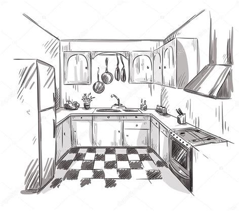 logiciel implantation cuisine dessin intérieur de cuisine illustration vectorielle