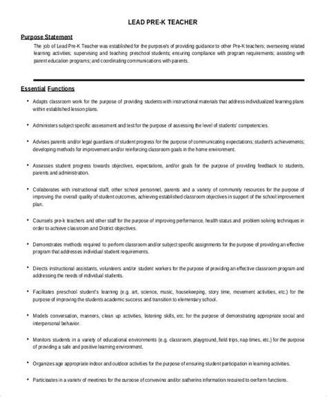 Pre K Resume by 10 Preschool Descriptions In Pdf Free