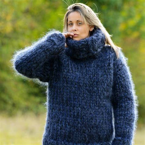 mohair sweater 20 strands blue black knit mohair sweater by