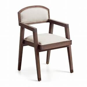 Chaise vintage a accoudoir assise en bois massif et tissu for Meuble salle À manger avec chaise avec accoudoir