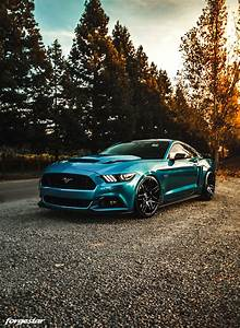 Metallic Blue Ford Mustang 6th Gen S550 - Forgestar F14 Flow Formed Wheels