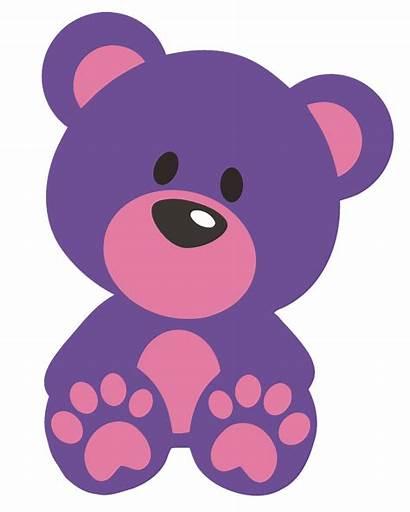 Teddy Bear Clipart Clip Bears Cartoon Purple