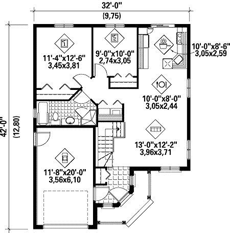 plan wpm metric narrow lot canadian cottage house