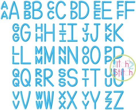 stacked sans embroidery monogram font  itch  stitch