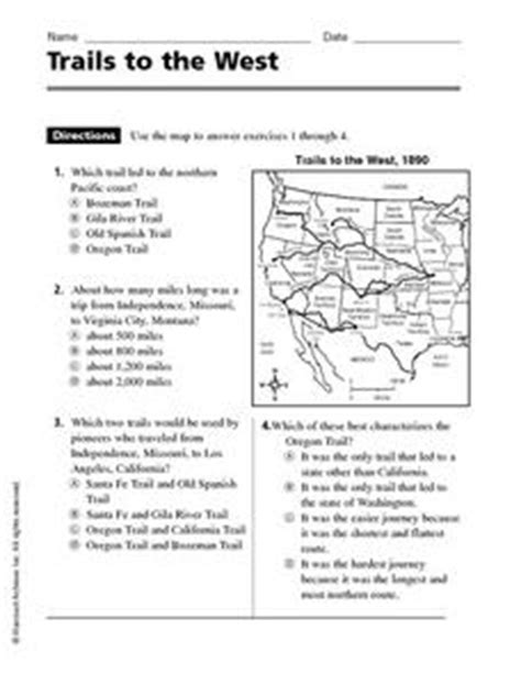 trails to the west 4th 5th grade worksheet lesson planet