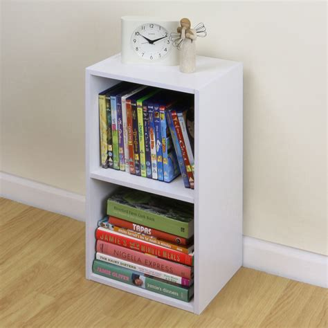 Bedside Bookcase by 2 Tier Wooden White Cube Bookcase Storage Unit Shelving