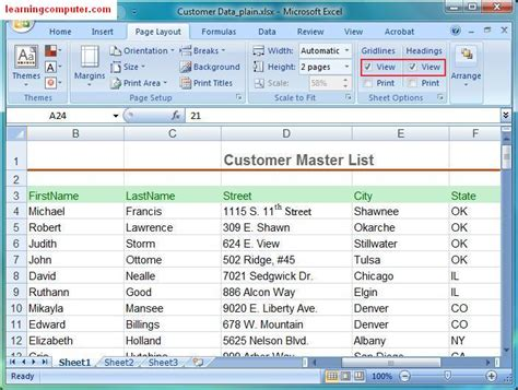 microsoft excel tutorial page layout tab softknowledge