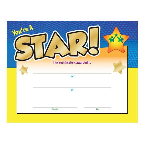 youre  star award gold foil stamped certificate